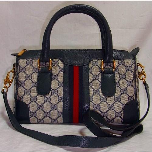 new products cfe06 024ac OLD Gucci ボストン&ショルダー2ウエイ(青・小) | Vintage ...