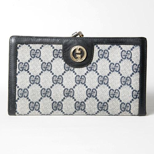 premium selection 9ba22 81d91 OLD Gucci がま口横長財布(黒GG) | Vintage Shop Rococo