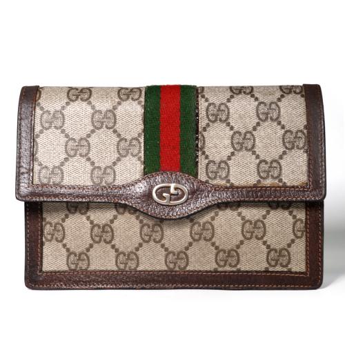 official photos e0233 273a9 OLD Gucci シェリーライン財布&ポーチ(茶)   Vintage Shop Rococo