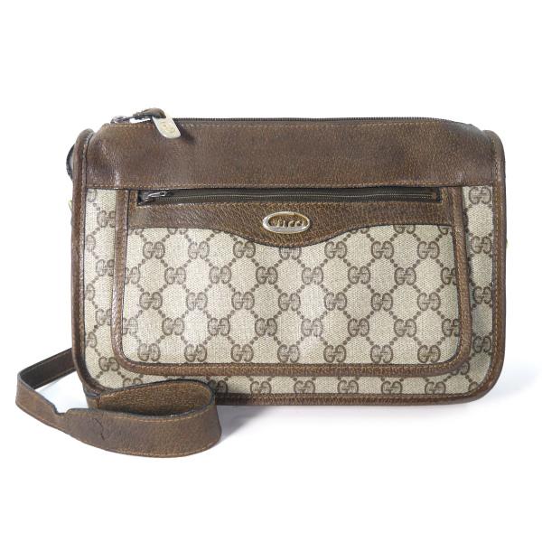 520f72ef3f58 OLD Gucci 70s筆記体ロゴ金具ショルダ-(茶) | Vintage Shop Rococo