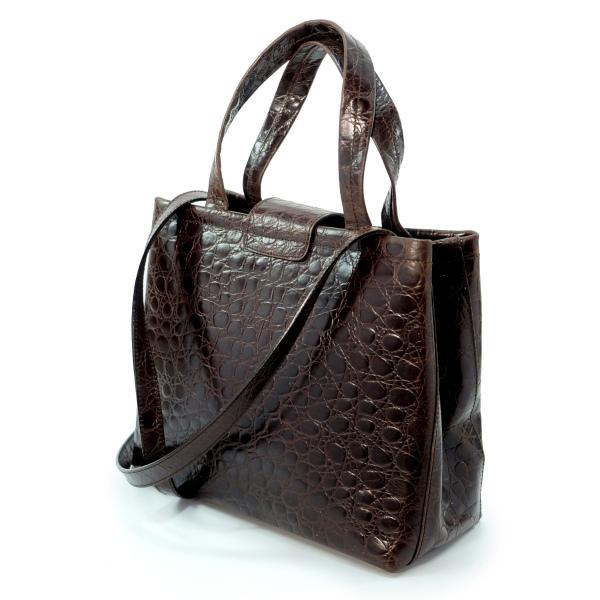 0b77f64eab1a Salvatore Ferragamo Varaクロコ型押し2WAYバッグ(濃茶) | Vintage Shop ...
