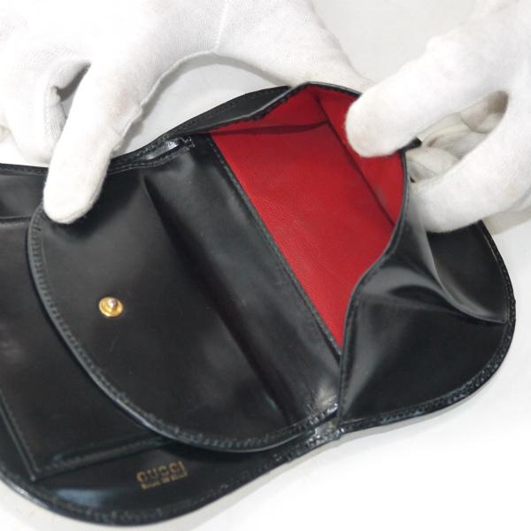 new styles d1f0a 6a434 OLD Gucci パテントレザー半円G金具財布(黒) | Vintage Shop ...