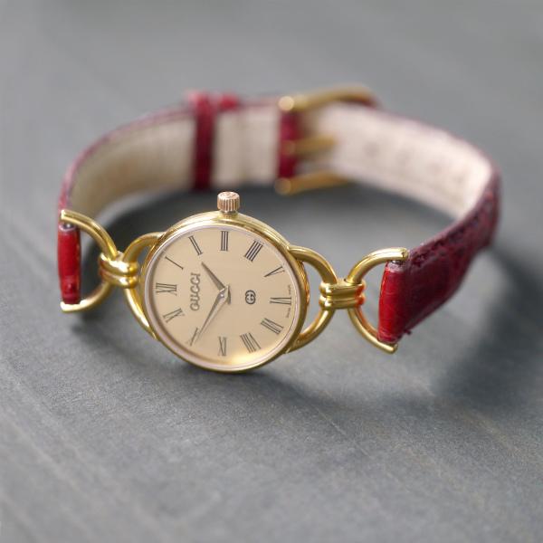 promo code 584b9 42ea8 OLD Gucci ギリシャ数字 クロコ腕時計(赤) | Vintage Shop Rococo