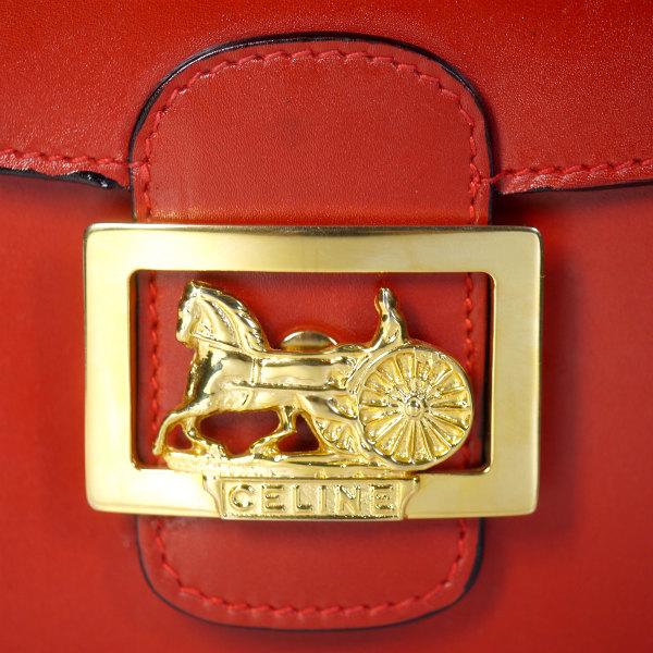 b155b490fd64 OLD CELINE レア!!馬車金具3層ショルダーバッグ(赤/総革) | Vintage ...